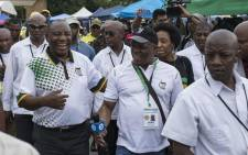Newly elected ANC President Cyril Ramaphosa is seen on Tuesday 19 December as he embarks on a walk about of stalls selling ANC regalia and well as other business stalls located in the hall of the Progressive Business Forum. Picture: Ihsaan Haffejee/EWN.