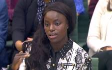In a still image take from footage broadcast by the UK Parliamentary Recording Unit, England Women's football player Eniola Aluko gives evidence to the Digital, Culture, Media and Sport select committee of MPs at the Houses of Parliament in London on 18 October 2017. Picture: AFP