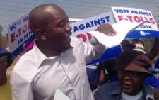 The Democratic Alliance's Premier Candidate for Gauteng Mmusi Maimane at a march against e-tolling on 27 September 2013. Picture: Sebabatso Mosamo/EWN