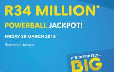 The estimated jackpot for the Powerball draw on 30 March 2018 was set at R34 million. Picture: @sa_lottery/Twitter.