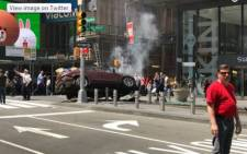 A screengrab of the crashed car in New York City's Times Square.