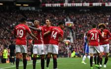 FILE: Manchester United players celebrate their 2-0 win against Chelsea. Picture: Twitter @ManUtd.