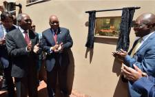 KwaZulu-Natal Premier Willies Mchunu and President Jacob Zuma (left) launch the third Invest SA One Stop Shop in KwaZulu-Natal on 18 November 2017. Picture: @PresidencyZA/Twitter