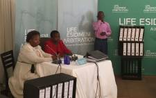 Merriam Monyane (in red), who lost her son Thabo, is testifying at the Esidimeni arbitration hearings on 16 November 2017. Picture: Thando Kubheka/EWN