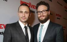 """FILE: James Franco and Seth Rogen at the Red Carpet Premiere for Columbia Pictures: """"The Interview"""". Picture: The Interview Official Facebook page."""