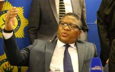 FILE: Police Minister Fikile Mbalula addresses the media during a presser at Nyanga Junction Mall in Cape Town. Picture: Bertram Malgas/EWN.