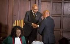 FILE: Newly appointed Deputy Minister of Public Enterprises Ben Martins shakes President Jacob Zuma's hand during the swearing in ceremony of President Jacob Zuma's new cabinet in Pretoria on 31 March 2017. Picture: Reinart Toerien/EWN