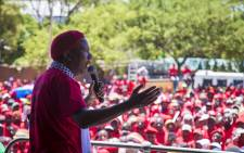 Economic Freedom Fighters (EFF) President Julius Malema address protesters gathered outside the Israel Embassy in Pretoria on 2 November 2017. Picture: Thomas Holder/EWN.