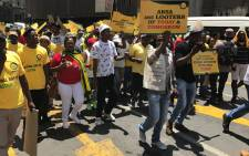 ANC Youth league march to ABSA in JHB CBD. Picture: Kgothatso Mogale/EWN.