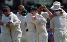 Australia's cricketers celebrate their 5-0 victory in the Ashes Test Cricket series against England at the Sydney Cricket Ground on January 5, 2014. Picture: AFP.