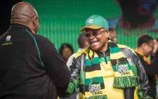 President Jacob Zuma greets ANC Secretary General Gwede Mantashe at the ANC national policy conference at Nasrec on 30 June 2017. Picture: Thomas Holder/EWN.