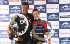 Men's Elite winner and Women's Elite winner Nolan Hoffman and Kim Le Court De Billot. Picture: Bertram Malgas