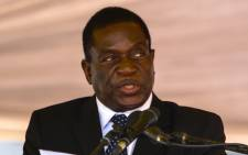 This file photo taken on 7 January 2017 shows Emmerson Mnangagwa speaking during the funeral ceremony of Peter Chanetsa at the National Heroes Acre in Harare. Picture: AFP.