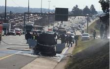 A Ford Kuga has caught fire on the N3 South near the London Road offramp on Monday 18 June 2018. Picture: Sandy Sequeira/iWitness.