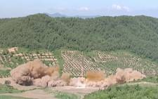 A screengrab from the footage taken of North Korea's missile test. Picture: Screen grab