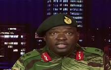 A screengrab of Zimbabwe army spokesperson Sibusiso Moyo on state TV.