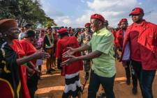 EFF leader Julius Malema greets Coligny residents on 2 May 2018. Picture: @EFFSouthAfrica/Twitter