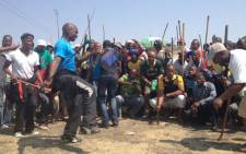 Anglo miners demonstrate, demanding better wages. Picture: Govan Whittles/EWN.