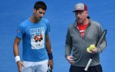 Novak Djokovic (left) and his former coach Boris Becker. Picture: AFP
