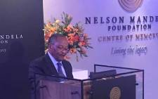 Prof Njabulo Ndebele, the chairperson of the Nelson Mandela Foundation, welcomes guests for #RememberingNelsonMandela on behalf of its Board of Trustees Living The Legacy. Picture: @NelsonMandela/Twitter.