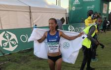 Nolene Conrad won the women's race title in the half-marathon on 31 March 2018. Picture: EWN Sport
