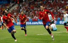 Spain forward Alvaro Morata (#7) celebrates his goal against Turkey in the Euro 2016 Group D on 17 June 2016. Picture: Facebook.