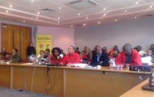 SACTWU bosses gather in Salt River to discuss wage negotiations. Picture: Giovanna Gerbi/Eyewitness News