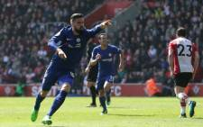 Olivier Giroud celebrates scoring a goal against Southampton. Picture: @ChelseaFC/Twitter.