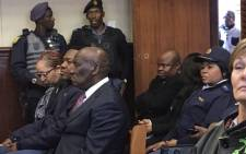 Police Minister Bheki Cele attending the first court appearance of four suspects arrested in connection with the killing of at least two officers in Ekurhuleni. Picture: Thando Kubheka/EWN.