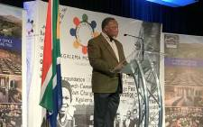 Former President Kgalema Motlanthe addressing the inaugural Drakensburg Inclusive Growth Forum organised under the auspices of the Kgalema Motlanthe Foundation Initiative. Picture: @KMotlantheFDN/Twitter.
