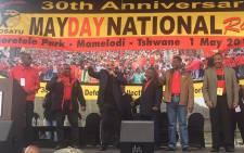 Leadership of SACP COSATU, SANCO and ANC stand united at Cosatu rally in Pretoria.Picture: Kgothatso Mogale/EWN