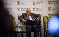 President Jacob Zuma reads through papers ahead of his address at the traditional leaders indaba in Boksburg on 29 May 2017. Picture: EWN
