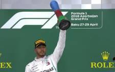 Lewis Hamilton wins Azerbaijan Grand Prix on 28 April 2019. Picture: @F1/Twitter.