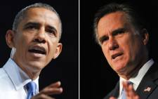 """US President Barack Obama (L) speaking during a campaign event in Jacksonville, Florida and US Republican presidential hopeful Mitt Romney (R) in Washington. Picture: AFP."""""""