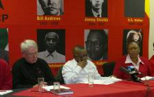 Jeremy Cronin and Blade Nzimande at an SACP briefing. Picture: Stephen Grootes/EWN.