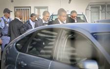 Western Cape Police Commissioner Arno Lamoer leaves the Goodwood Police Station where he handed himself over on 17 April 2015. Picture: EWN.