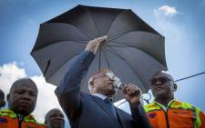 President Jacob Zum, Gauteng Premier David Makhura and Min of Cooperative Governance Des van Rooyen address residents of Setjwetla, an the area of Alexandra that was flooded and where one person subsequently lost their life.  Picture: Thomas Holder/EWN