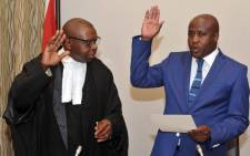 FILE: Judge John Hlophe (left) swearing in State Security Minister Bongani Bongo. Picture: GCIS