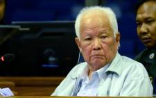 Former president Khieu Samphan on trial before a UN-backed tribunal known as the Extraordinary Chambers in the Courts of Cambodia. Picture: AFP