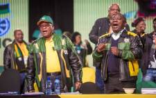 FILE: ANC President Jacob Zuma and deputy president Cyril Ramaphosa sing during the opening of the final plenary on 5 July 2017. Picture: Thomas Holder/EWN