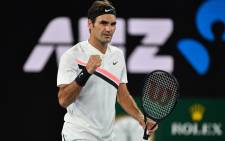 Switzerland's Roger Federer reacts after beating Germany's Jan-Lennard Struff in their men's singles second round match on day four of the Australian Open tennis tournament in Melbourne on 18 January, 2018. Picture: AFP.