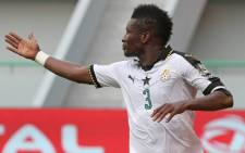 Experienced forward Asamoah Gyan grabbed the only goal of the game to become his Ghana's leading all-time scorer in the continental championship. Picture: Twitter/‏@ghanafaofficial.