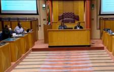 A screengrab of Parliament's Communications Committee in session on 29 May 2018.