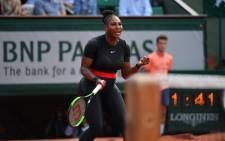 Serena Williams celebrates winning a point. Picture: @rolandgarros/Twitter