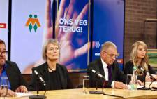 AfriForum prosecutor Gerrie Nel, flanked by Alexis Bizos' wife Monique van Oosterhout announced that AfriForum would be pursuing Bizos for domestic abuse on Tuesday 27 February 2018 in Centurion. Picture: www.afriforum.co.za