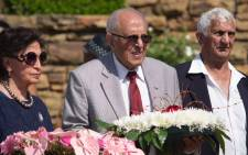 Former prison mates and struggle icons Ahmed Kathrada and Laloo Chiba were among those that visited Nelson Mandela stature at the Union Buildings in Pretoria as the country marks one year since the death of the former president on 5 December 2014. Picture: Christa Eybers/EWN.