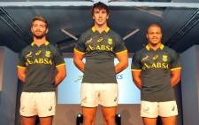 Wille le Roux, Eben Etzebeth and Juan de Jongh during the unveiling of new ASICS Springbok Jersey on 24 April 2014. Picture: Facebook.