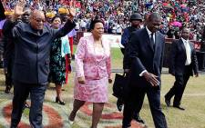 President Jacob Zuma, Gauteng Premier Nomvula Mokonyane and Arts & Culture Minister Paul Mashatile attend the Easter Friday church service at Ellis Park Stadium on 18 April 2014. Picture: GCIS