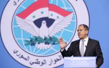 Russian Foreign Minister Sergei Lavrov gives a speech during a plenary session at the Congress of Syrian National Dialogue in Sochi on 30 January 2018. Picture: AFP.