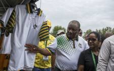 Newly elected ANC president Cyril Ramaphosa is seen on 19 December as he embarks on a walk about of stalls selling ANC regalia and well as other business stalls located in the hall of the Progressive Business Forum. Picture: Ihsaan Haffejee/EWN